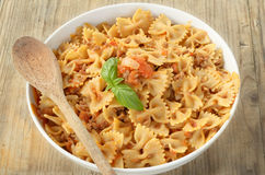 Farfalle with ragout Royalty Free Stock Photos