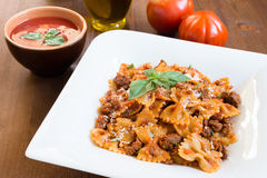 Farfalle with ragout Stock Photography