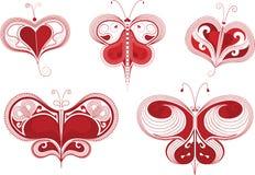 Farfalle rosse del cuore impostate. Immagine Stock Libera da Diritti