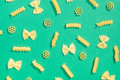 Farfalle, rotelle and fusilli pasta flat lay Stock Images
