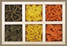 Farfalle and spiral pasta Stock Photo