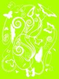 Farfalle stilizzate della sorgente su verde Fotografia Stock Libera da Diritti