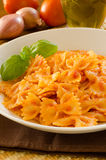 Farfalle with tomato sauce Stock Photo