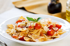 Farfalle with tomato sauce Royalty Free Stock Photography