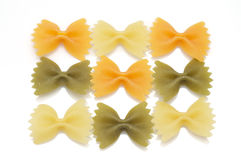 Farfalle tricolore pasta Royalty Free Stock Image