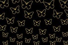 Farfalle variopinte su un fondo nero Farfalle isolate Modello, spazio in bianco, luminoso, variopinto Immagine Stock Libera da Diritti