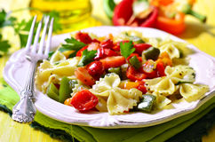 Farfalle with vegetable. Royalty Free Stock Photography