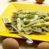 Farfalle with white asparagus. And dill-pepper sauce Stock Photo