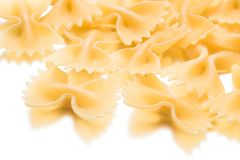 Farfalle on white background stock photography