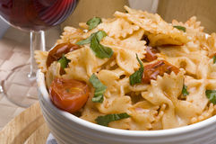 Farfalle and wine Royalty Free Stock Photos