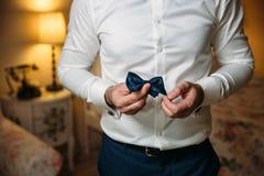 Farfallino della tenuta dello sposo dell'uomo d'affari del primo piano in sue mani Concetto dei vestiti alla moda di eleganza deg Immagine Stock