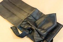 Farfallino nero con un telaio e un fazzoletto Immagine Stock