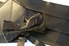 Farfallino nero con un telaio e un fazzoletto isolati Fotografia Stock Libera da Diritti