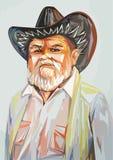 Farfar i en cowboyhatt Arkivbild