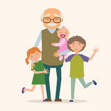Farfar med hennes barnbarn royaltyfri illustrationer