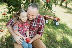 Farfar med sondottern med Apple i den Apple fruktträdgården Royaltyfria Bilder