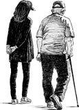 Farfar och sondotter Arkivbilder
