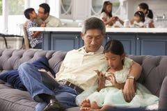 Farfar och sondotter som hemma använder mobiltelefonen royaltyfri bild