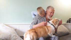 Farfar och sonson med hundsammantr?de p? soffan i rum lager videofilmer