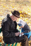 Farfar och sonson som delar enPC Royaltyfri Foto