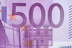 Fargment de billet de banque de l'euro 500 Photographie stock libre de droits