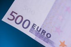 Fargment del billete de banco del euro 500 Foto de archivo libre de regalías