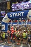 Fargo Marathoners back packs stored at the drop off station