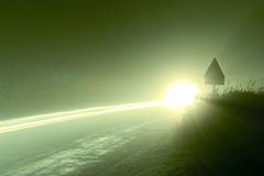 Fari in nebbia Fotografie Stock