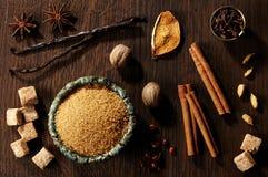Farin och kryddor royaltyfri fotografi