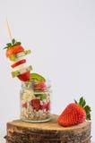 Farina d'avena con la frutta Fotografia Stock Libera da Diritti