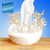 Farina d'avena con latte, versando la tazza e gli elementi dell'avena, con le spighette dei cereali Fotografia Stock Libera da Diritti