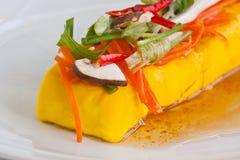 Farina di fave molle dell'alimento vegetariano (tofu) Fotografia Stock