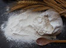 Farina di frumento in borsa di tela da imballaggio, cucchiaio di legno ed orecchie di grano su fondo scuro, vista superiore Fotografia Stock