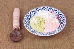 Farina di riso cotta a vapore con la palma di toddy, Kanom Kee Noo Fotografia Stock Libera da Diritti