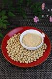 Farina di soia e soia Immagini Stock Libere da Diritti