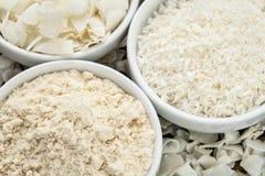 Farina e fiocchi della noce di cocco Fotografia Stock