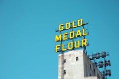Farina iconica della medaglia d'oro del segno a Minneapolis Immagine Stock Libera da Diritti