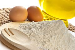 Farina, uova, olio Immagini Stock Libere da Diritti