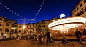 Farinata Degli Uberti square with carousel in Empoli, Italy stock photography