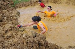 Farinato Race - extreme obstacle race in Gijon, Spain. Royalty Free Stock Images