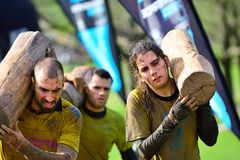 Farinato Race - extreme obstacle race in Gijon, Spain. Royalty Free Stock Photo