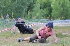 Farinato Race - extreme obstacle race in Leon, Spain. Stock Images