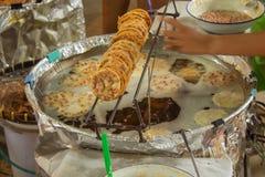 Farine d'arachide frite, casse-croûte thaïlandais photographie stock