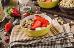 Farine d'avoine avec du yaourt, le strawberrie frais et les écrous images libres de droits