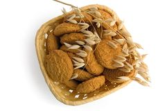 farine d'avoine de biscuits de panier Images libres de droits