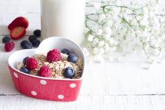 Farine d'avoine de gruau avec des fruits dans le concept d'amour de nourriture de valentines de coeur Photographie stock libre de droits