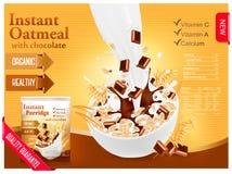 Farine d'avoine instantanée avec le concept d'annonce de chocolat illustration stock