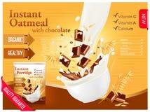 Farine d'avoine instantanée avec le concept d'annonce de chocolat Trayez l'écoulement dans illustration stock