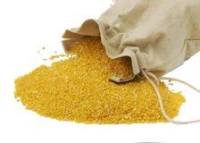 Farine de maïs dans le sac Images libres de droits