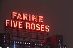 Farine fem rosa Montreal gränsmärke Arkivbild